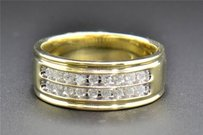Diamond Wedding Band 10k Yellow Gold Round Cut 2 Row Mens Engagement Ring 12 Ct
