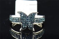 Ladies 10k White Gold Butterfly Blue Diamond Engagement Ring Wedding Band .25 Ct