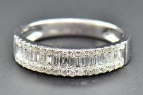 Diamond Wedding Band 10k White Gold Baguette Round Cut 34 Ct Ladies Ring