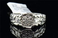 Mens 10k White Gold Round Cut Diamond Engagement Ring Nugget Style Wedding Band
