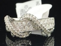 Diamond Wedding Band 10k White Gold Round Cut Swivel Design Fashion Ring .78 Ct.