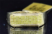 Mens 10k Yellow Gold Yellow Pave Diamond Engagement Ring Wedding Band .29 Ct.