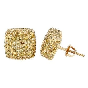 Jewelry For Less Yellow Diamond Earrings 10k Yellow Gold Round Cut 1.25 Ct. Square 3d Cube Studs