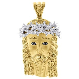 Jewelry For Less Yellow Diamond Jesus Matte Satin Pendant Mens 10k Yellow Gold Charm 8.72 Ct.