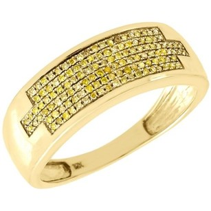 Jewelry For Less Yellow Diamond Wedding Ring Mens 10k Gold Round Pave Engagement Band 0.32 Tcw.