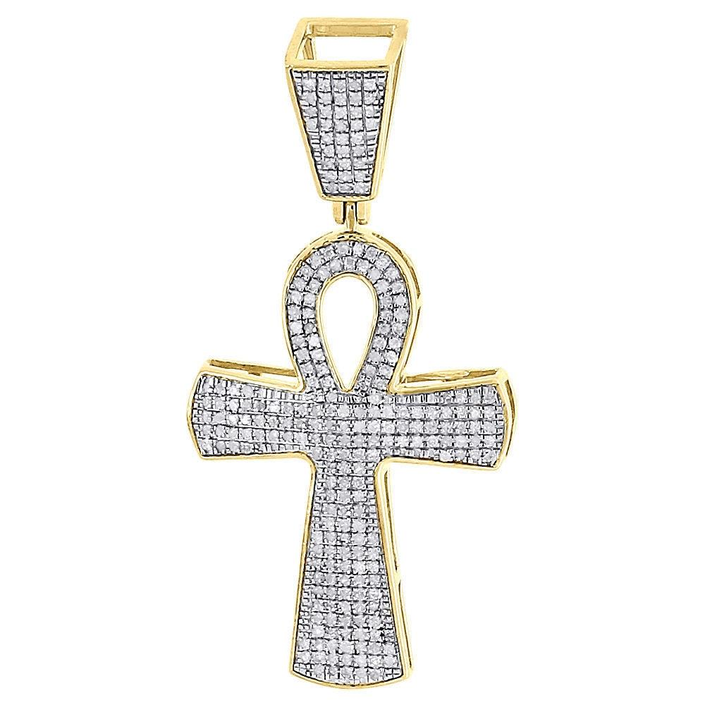 Jewelry For Less Yellow Gold Diamond Ankh Pendant 10k Pave Egyptian