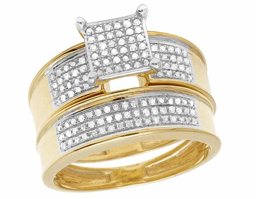 Jewelry Unlimited 10k White Gold Yellow Real Diamond Two Piece
