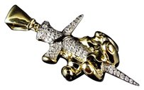 Jewelry Unlimited 10K Yellow Gold Genuine Diamond Crucifix Style Nail & Hand Pendant (0.25ct) 1.5 inches