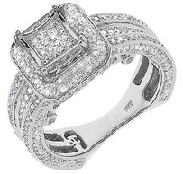 Jewelry Unlimited 10k,White,Gold,Ladies,Round,Pave,Diamond,Kite,3d,Engagement,Wedding,Ring,1.50,Ct