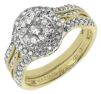 Jewelry Unlimited 14k,Yellow,Gold,Ladies,Round,Cluster,Diamond,Prong,Wedding,Bridal,Ring,Set,1,Ct