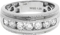 Jewelry Unlimited 14k,White,Gold,Mens,Round,Channel,Diamond,Comfort,Fit,Wedding,Band,Ring,8mm,1,Ct