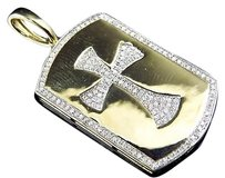 Jewelry Unlimited 10k,Yellow,Gold,Genuine,Diamond,Cross,Centered,Dog,Tag,Pendant,0.50ct,1.5