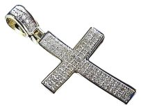 Jewelry Unlimited 10k,Yellow,Gold,Genuine,Hand,Set,Diamond,Mini,Cross,Pendant,Charm,0.33ct,1.25
