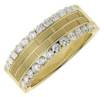 Jewelry Unlimited Mens,14k,Yellow,Gold,Satin,Brick,Pattern,Diamond,Edge,8mm,Wedding,Band,Ring,1,Ct