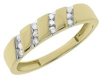 Jewelry Unlimited 10k,Yellow,Gold,Round,Channel,Diagonal,Diamond,4mm,Wedding,Band,Ring,0.11,Ct