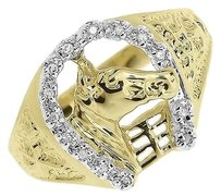 Jewelry Unlimited Mens,10k,Yellow,Gold,Round,Diamond,Horseshoe,Stable,Classic,Signet,Ring,110,Ct