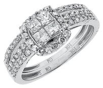 Jewelry Unlimited 10k,White,Gold,Ladies,Princess,Diamond,Bridal,Wedding,Engagement,Ring,Set,.98,Ct