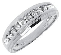 Jewelry Unlimited 10k,White,Gold,Mens,Round,One,Row,Genuine,Diamond,6.5mm,Wedding,Band,Ring,0.25,C