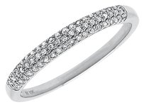 Jewelry Unlimited 10k,White,Gold,Ladies,Pave,Diamond,3mm,Domed,Fashion,Wedding,Band,Ring,0.15,Ct