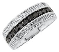 Jewelry Unlimited Mens,Ladies,White,Gold,Finish,Round,Black,Diamond,8.5mm,Fashion,Band,Ring,0.50ct