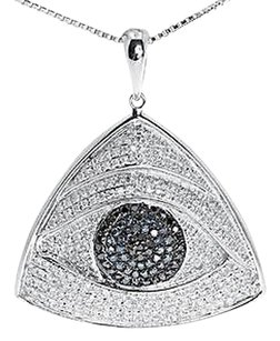 Jewelry Unlimited 10k,White,Gold,Ladies,Blue,White,Diamond,Evil,Eye,Fashion,Pendant,Charm,1.2,Ct