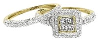 Jewelry Unlimited 14k,Yellow,Gold,Women,Princess,Round,Diamond,Bridal,Engagement,Ring,Set,1.28,Ct