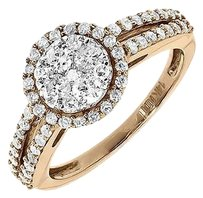 Jewelry Unlimited 14k,Rose,Gold,Ladies,Solitaire,Cluster,Diamond,Engagement,Fashion,Ring,1,Ct