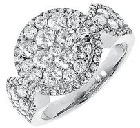 Jewelry Unlimited 14k,White,Gold,Ladies,Round,Diamond,Cluster,Halo,Engagement,Fashion,Ring,1.93,Ct