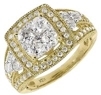 Jewelry Unlimited 14k,Yellow,Gold,Ladies,Round,Cluster,Diamond,Engagement,Wedding,Ring,2,Ct