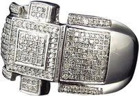 Jewelry Unlimited Sterling,Silver,Royal,Style,Genuine,Diamond,Pinky,Ring,White,Gold,Finish,.75,Ct