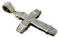 Jewelry Unlimited 10k,Yellow,Gold,Xl,Pave,Genuine,White,Diamond,Cross,Pendant,Charm,1.5,0.64ct