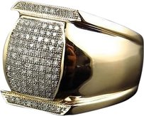 Jewelry Unlimited Men,10k,Yellow,Gold,Round,Genuine,White,Diamond,Lantern,Style,Ring,25mm,.50ct