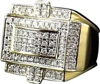 Jewelry Unlimited Men,10k,Yellow,Gold,Round,Cut,Genuine,White,Diamond,3d,Style,Ring,18mm,1.25ct