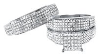 Jewelry Unlimited 10k,White,Gold,Mens,Ladies,Pave,Round,Diamond,Bridal,Wedding,Trio,Ring,Set,1,Ct