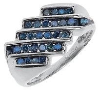 Jewelry Unlimited Mens,White,Gold,Finish,Diagonal,Row,Blue,Diamond,12mm,Fashion,Band,Ring,0.75,Ct