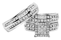 Jewelry Unlimited 10k,White,Gold,Mens,Ladies,Round,Channel,Diamond,Trio,Wedding,Ring,Set,0.89,Ct