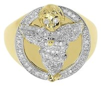 Jewelry Unlimited 10k,Yellow,Gold,Mens,Xl,Round,Diamond,Angel,Signet,Fashion,Pinky,Ring,0.50,Ct