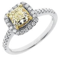 Jewelry Unlimited 14k,White,Gold,Vs,Canary,Cushion,Solitaire,Diamond,Engagement,Ring,1.45,Ct
