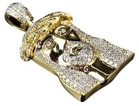 Jewelry Unlimited Mens,Solid,Yellow,Gold,Genuine,Diamond,Jesus,Piece,Pendant,1.5,Inch,1.4,Ct