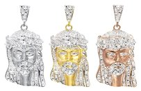 Jewelry Unlimited Yellow,White,Or,Rose,Gold,Finish,Genuine,Diamond,Jesus,1.25,Pendant,Charm,12ct