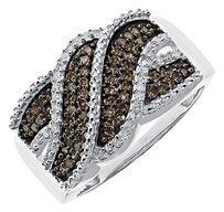 Jewelry Unlimited 10k,White,Gold,Ladies,Brown,Diamond,Wave,Swirl,11mm,Fashion,Band,Ring,0.36,Ct