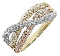 Jewelry Unlimited 14k,Yellow,Gold,Ladies,Tri,Color,Round,Diamond,8mm,Crossover,Fashion,Band,Ring