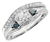 Jewelry Unlimited 14k,White,Gold,Ladies,Blue,White,Diamond,3,Stone,Bridal,Wedding,Ring,Set,0.50,Ct