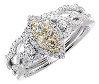 Jewelry Unlimited 14k,White,Gold,Ladies,Yellow,White,Diamond,Marquise,Bridal,Wedding,Ring,0.50ct