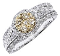 Jewelry Unlimited 14k,White,Gold,Ladies,Yellow,White,Cluster,Diamond,Bridal,Wedding,Ring,Set,1,Ct