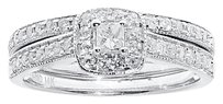 Jewelry Unlimited 14k,White,Gold,Ladies,Princess,Solitaire,Diamond,Bridal,Wedding,Ring,Set,0.51,Ct