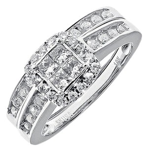 Jewelry Unlimited 10k,White,Gold,Ladies,Princess,Diamond,Engagement,Wedding,Bridal,Ring,Set,34,Ct