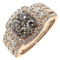 Jewelry Unlimited 2,Ct,Ladies,14k,Rose,Gold,Brown,White,Round,Diamond,Cluster,Halo,Bridal,Ring,Set