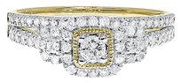 Jewelry Unlimited 14k,Yellow,Gold,Ladies,3,Stone,Halo,Diamond,Engagement,Bridal,Ring,Set,12ct