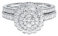 Jewelry Unlimited 14k,White,Gold,Ladies,Solitaire,Diamond,Flower,Engagement,Bridal,Ring,Set,1,Ct